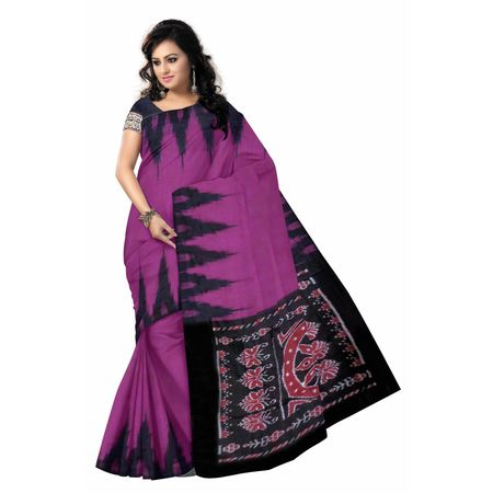 OSS7556: Plain Magenta Handwoven cotton sarees