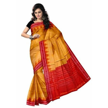 OSS7014: Light Orange with Red color Handloom cotton sarees of odisha