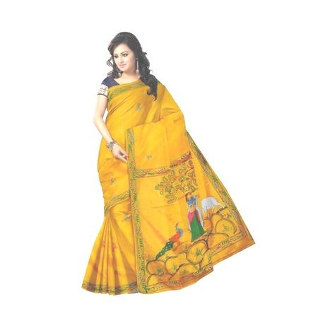 OSS20048: Yellow color Patachitra Saree for Wedding Party