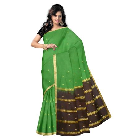 OSSAP004: Olive Green Handloom Bandar cotton saree with Jala Butta