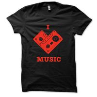 I Love Music T-shirt, s,  black