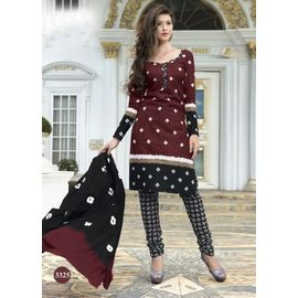 Pure Cotton Suits - Maroon with Black & White Design Churidar Salwar Kameez