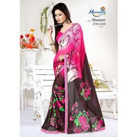 Meerashree Mastani hot pink background Brownish shade flower printed saree with Blouse Multicolor