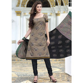 New Stylish Daily Wear Grey Cotton Salwar Suit with Dupatta
