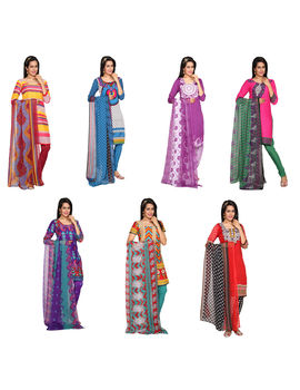 Barbiee 7 Crepe Unstitched Chudidhar Material