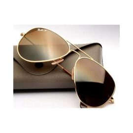 Brown Glass Golden Framed Aviator 100% UV Protector By RayBan Sunglasses