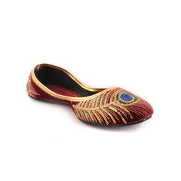 Rajasthani Jaipuri Peacock Golden Mojari, red, 6