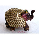 Wooden Elephant With Zircon Work 1