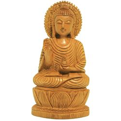 Wooden Buddha Sculpture, 6 inches