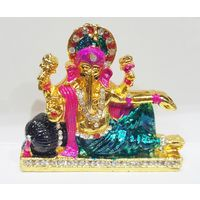Multicolor Reclining Ganesha Statue Decorated with nag, 2.5 x 2.5 x 1 inches