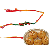 Colorful Fancy Rakhi With Balusha Sweets