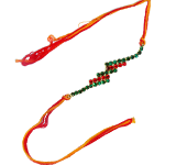 Fancy Rakhi with Red and Green Stones