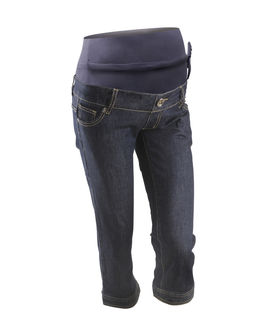 Comfort wear maternity jeans with adjustable bump support, large, dark blue wash