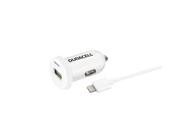 Duracell Car Charger Lightning 2.4a, White