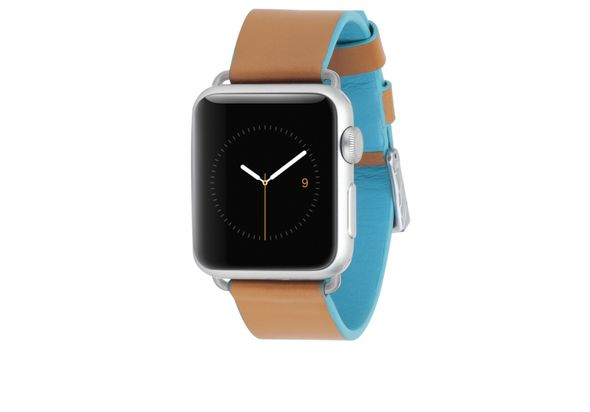 Case-Mate Edged Leather Band, Brown & Blue