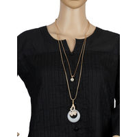One Stop Fashion Stylish Gold Colour alloy double chain with 2 pendants for Girls & Women, 30, gold