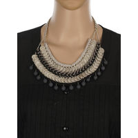 One Stop Fashion Silver Alloy Coin Designed Black and Grey Colour Neckpiece for Girls & Women, 140, black & silver