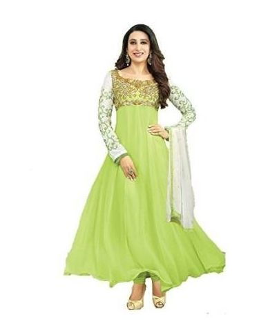 Green Embroidered Faux Georgette Un-Stiched Salwar Kameez With Dupatta