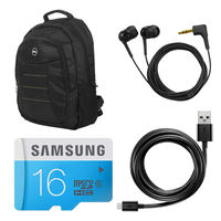 HP Black Blue Amazing Laptop Backpack with combo of Samsung Memory card 16 GB earphone & datacable