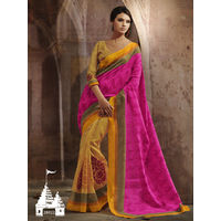Yellow & Pink Color Printed Saree This Saree Bhagalpuri Silk Fabric Floral Printed Saree, It's An Casual Wear Saree With Light Yellow Color Bhagalpuri Silk Blouse Which Can Be Stitched Up Size 44.