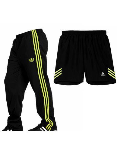 Adidas Black Coloured Track Pants & Shorts Combo For Men