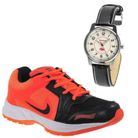 Buy Finley Running Shoes with Branded Reebok Watch in just Rs. 70, orange, 9