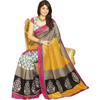 Yellow Bhagalpuri Printed Saree With Blouse Piece