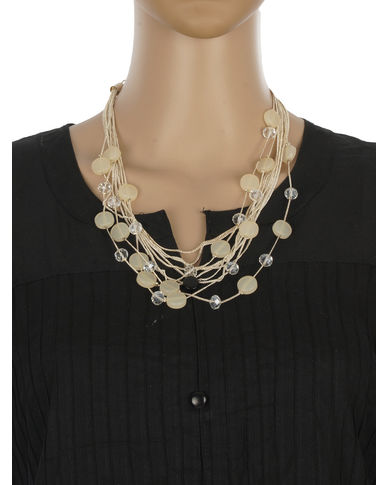 One Stop Fashion Fashionable and Trendy Cream Beads and Crystal Neck Piece for Girls & Women