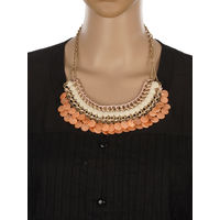One Stop Fashion Elegant and Stylish Orange Colour Coins Neckpiece for Girls & Women, 120, orange and cream