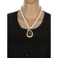 One Stop Fashion Traditional and Smart Pearl Necklace with a Pendant for Girls & Women, 53, white