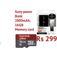 sandisk 16GB Memory card with Sony Power bank 2800 Mah