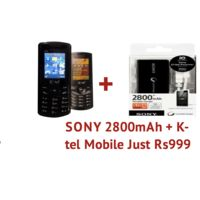 Limo K Tel 2232 Mobile Phone and Sony power bank 2800mAh just 999 pack of 2