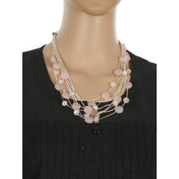 One Stop Fashion Fashionable and Trendy Pink Beads and Crystal Neck Piece for Girls & Women, 60, pink