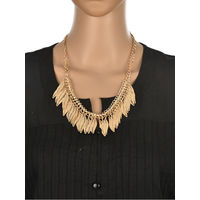 One Stop Fashion Fancy and Fashionable Gold Colour Alloy Leaves design NeckPiece for Girls & Women, 48, gold