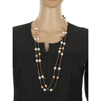 One Stop Fashion Elegant and Exclusive Copper pearls with Gold Alloy Chain Neckpiece for Girls & Women, 40, copper and gold