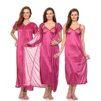 Women 2 PC Dark Pink Color Satin Nighty Gown/ Maxi Maxi Wear Condition: New: A brand-new, unused and undamaged item that is fully operational and functions as intended. Brand: @RK collection Size Details: Fits anyone upto Waist 36 Size: Medium, Small, Fab