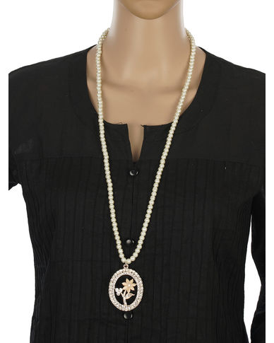 One Stop Fashion Smart Long Pearl Necklace with a Smart Pendant for Girls & Women