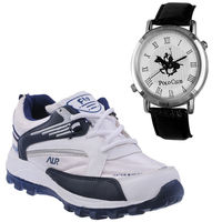 Buy Finley Running Shoes with Branded Polo Watch in just Rs. 70, white, 7