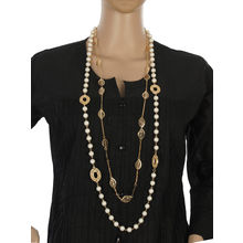 One Stop Fashion Funky and Smart Long 2 Line Pearl and Gold Colour Alloy Neckpiece for Girls & Women, 64, white