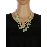One Stop Fashion Fashionable and Trendy Light Green Beads and Crystal Neck Piece for Girls & Women, 60, light green