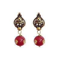 Red metal alloy drop earring, red