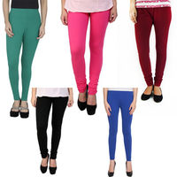 BullzI Women Trendy Legging Combo of 5, mehroon black green blue pink, free