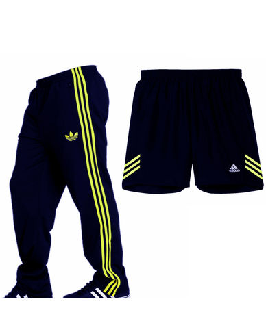 Adidas Navy Blue Coloured Track Pants & Shorts Combo For Men