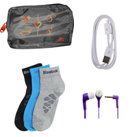 Buy 3 pairs Addidas/Reebok Socks, Ear phone, Data cable & Bag Just Rs. 199
