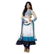 White Embroidered Faux Georgette Un-Stiched Salwar Kameez With Dupatta
