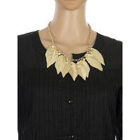 One Stop Fashion Stunning and Smart Gold Colour Leaves Alloy Neckpiece for Girls & Women, 68, gold
