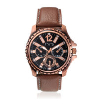 FNB black Dial choronograph Pattern Analouge Watch For Man Fnb-0113, brown, genuine leather