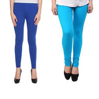 BullzI Women Trendy Legging Combo of 2, sky blue  navy blue, free