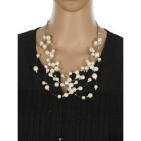 One Stop Fashion Stunning and Smart White and Silver Colour Neckpiece for Girls & Women, 40, white and silver