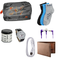 Buy Reebok Watch, Woodland purse, Ear phone, Data cable, 3 pair socks & Bag Just Rs. 499